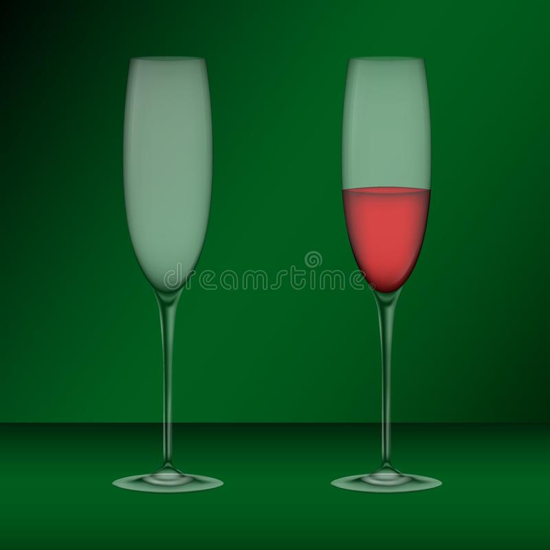 Realistic glasses, emty one and filled with wine royalty free illustration