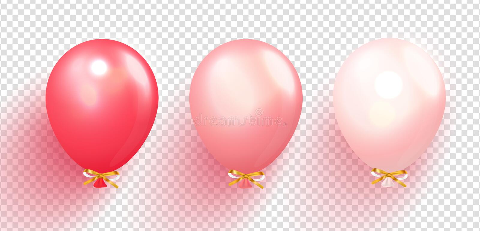 Realistic glossy balloons vector illustration on transparent background. Balloons for Birthday, festive occasions stock illustration