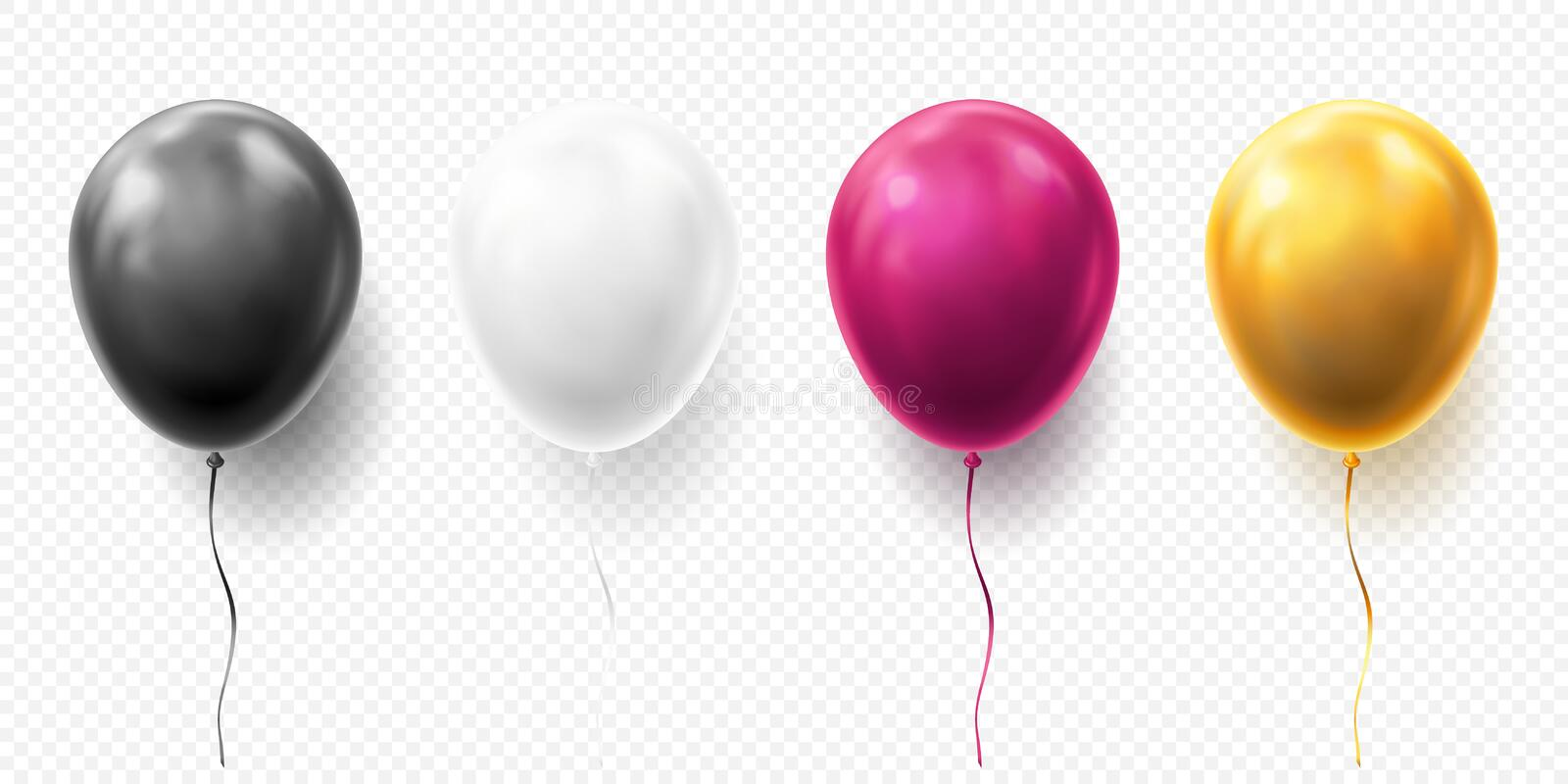 Realistic glossy golden, purple, black and white balloon vector illustration on transparent background. Balloons for royalty free illustration