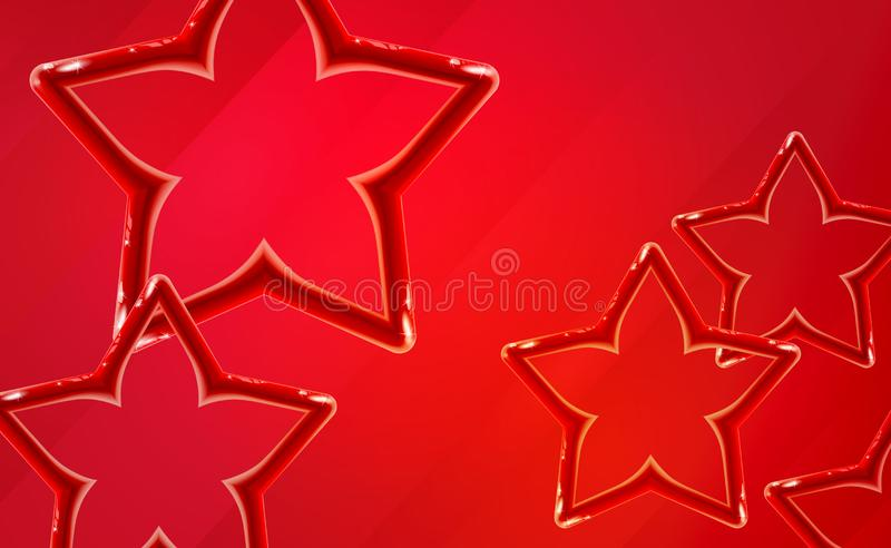 Realistic glossy red star background start-up presentation. Bright toy plastic design shiny 3d, vibrant color tones. Abstract stock illustration