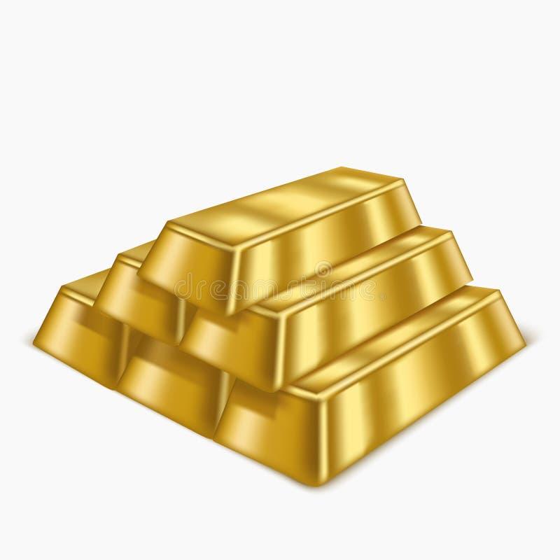 Realistic Gold Bars or Bullion. Vector. Realistic Gold Bars or Bullion Treasure Symbol of Rich, Reserve and Luxury. Vector illustration stock illustration
