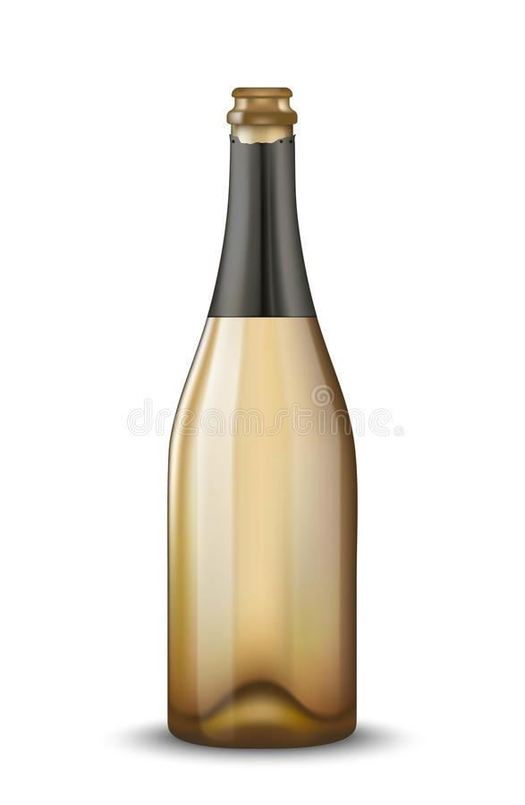 Vector Realistic Gold With Black Open Champagne Bottle Isolated On ...