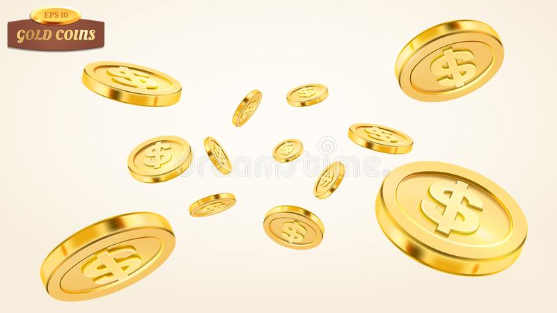 Realistic gold coin explosion or splash on white background. Rain of golden coins. Falling or flying money. Bingo vector illustration