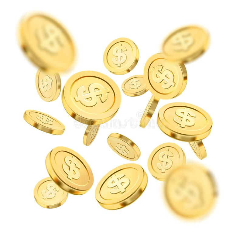 Realistic gold coin explosion or splash on white background. Rain of golden coins. Falling money. Bingo jackpot or vector illustration