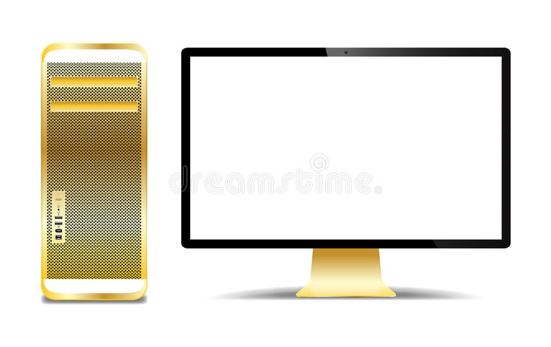 Realistic Gold Computer Tower And Screen. A realistic gold computer tower and screen isolated on a white background royalty free illustration