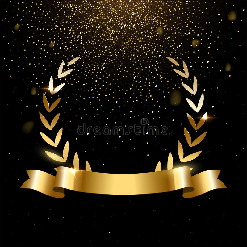 Realistic gold laurel wreath with text space vector illustration