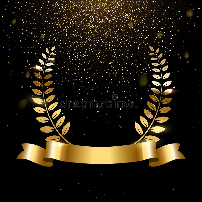 Realistic gold laurel wreath with text space stock illustration