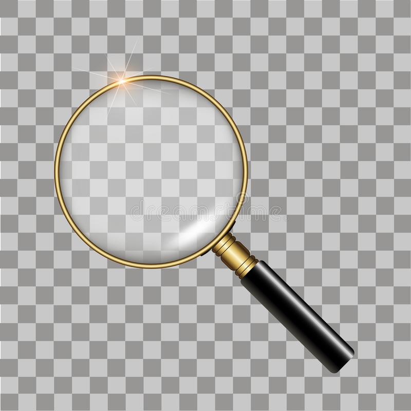 Realistic gold magnifier on transparent background. Vector stock illustration