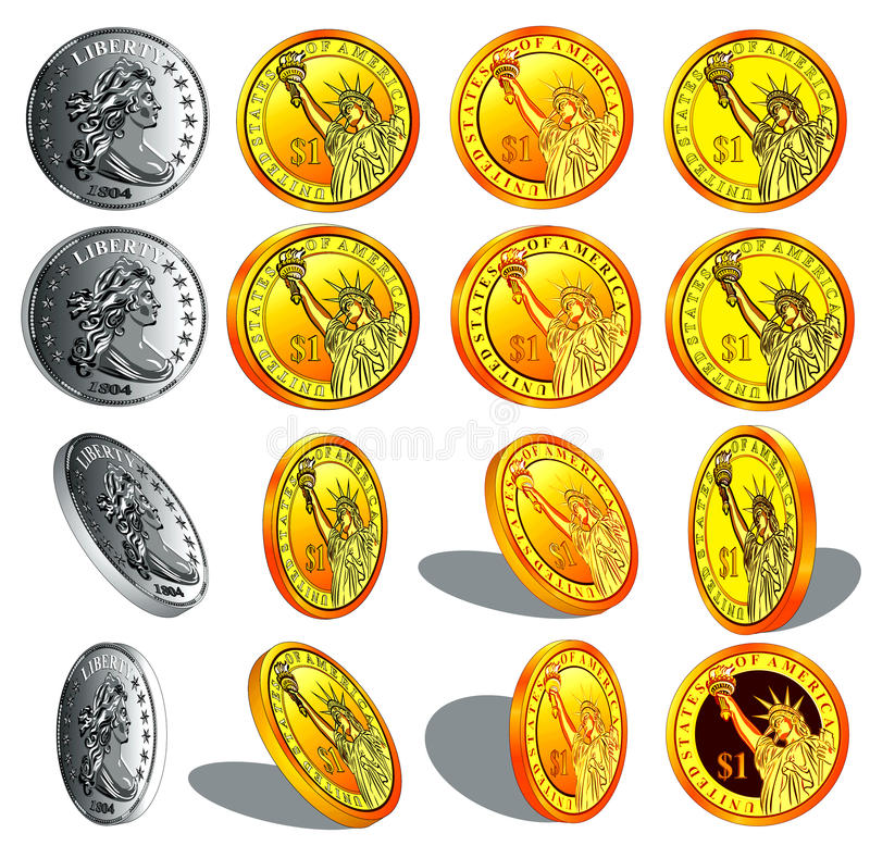 Download Realistic Gold And Silver Coins Stock Vector - Image: 25111895