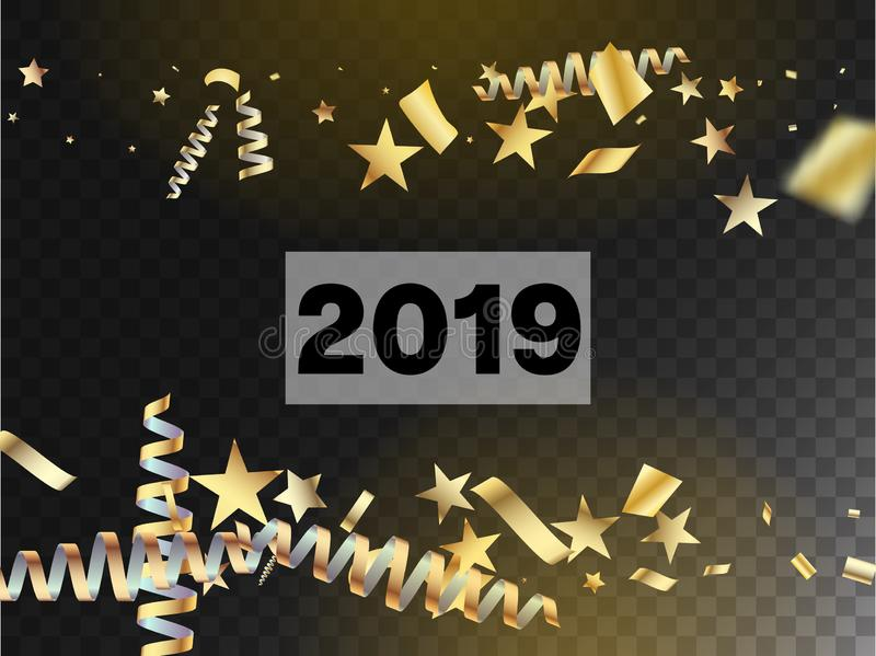 Realistic Gold Tinsel Confetti, Flying Foil Blast. stock photos