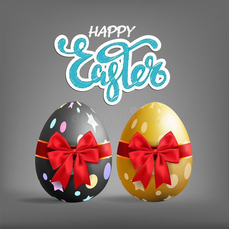 Realistic golden and black Easter egg tied of red ribbon with a vector illustration