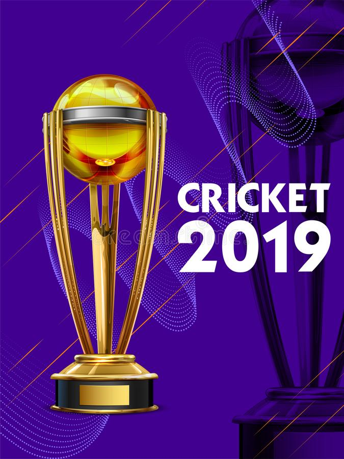 Realistic Golden Cup Trophy for Cricket sport tournament game vector illustration