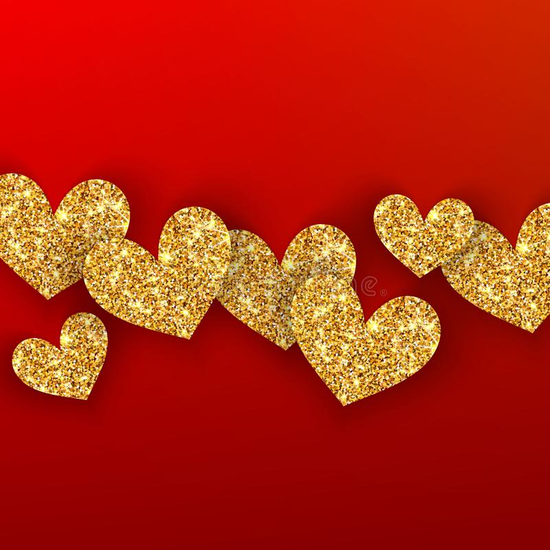 Realistic golden hearts on red background. Happy Valentines Day concept for greating card. Romantic Valentine gold. Hearts. Weeding vectordesign elements royalty free illustration