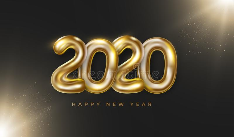 Realistic golden 2020 numbers with Happy New Year text, particles glow on black background. stock image