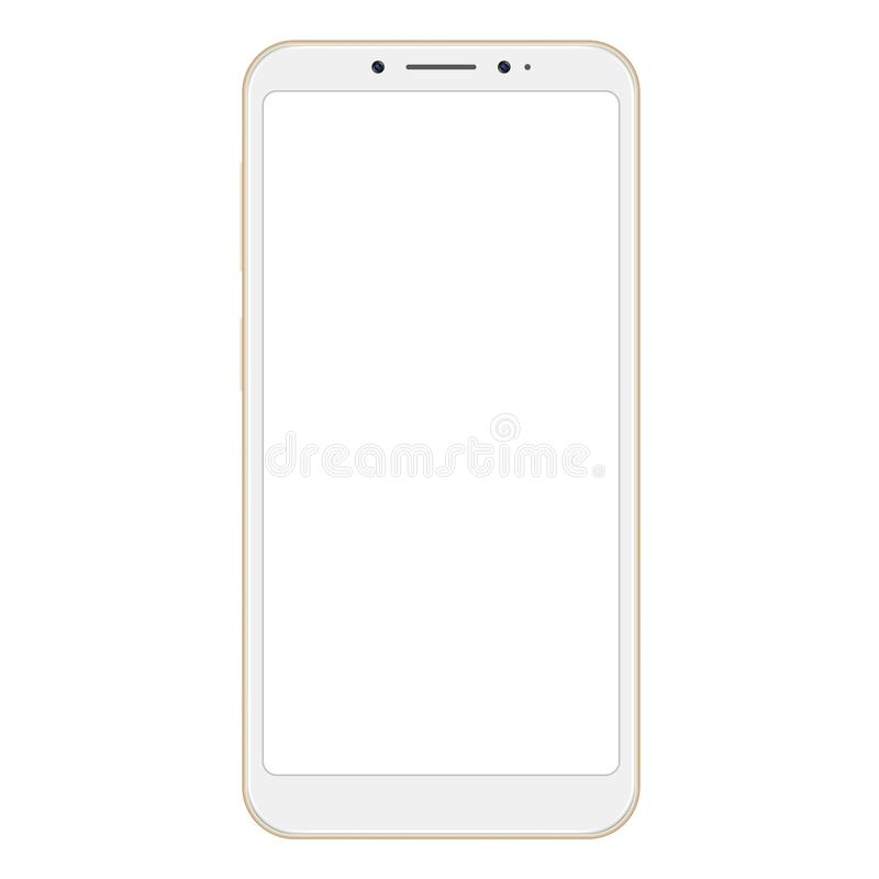Realistic golden smartphone isolated on white background. Golden vector frameless smart phone, cellphone. Realistic golden smartphone isolated on white royalty free illustration