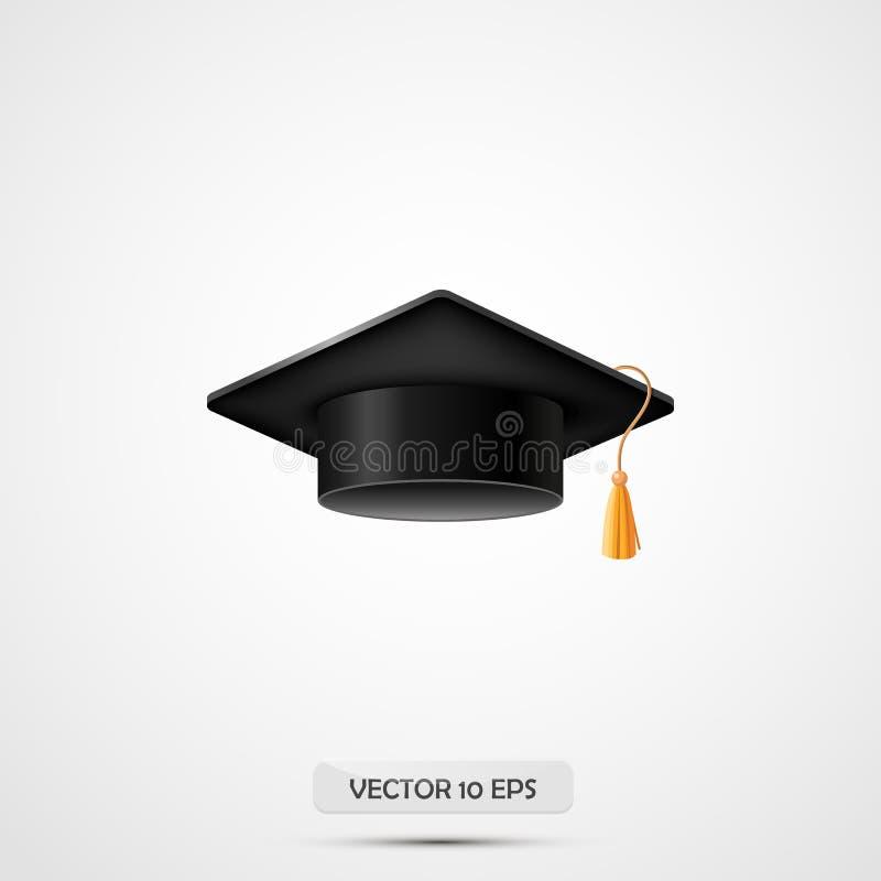Realistic Graduation hat. Isolated on white. Vector illustration. Education cap. Academic uniform element. College or university b. Lack hat. Education hat royalty free illustration