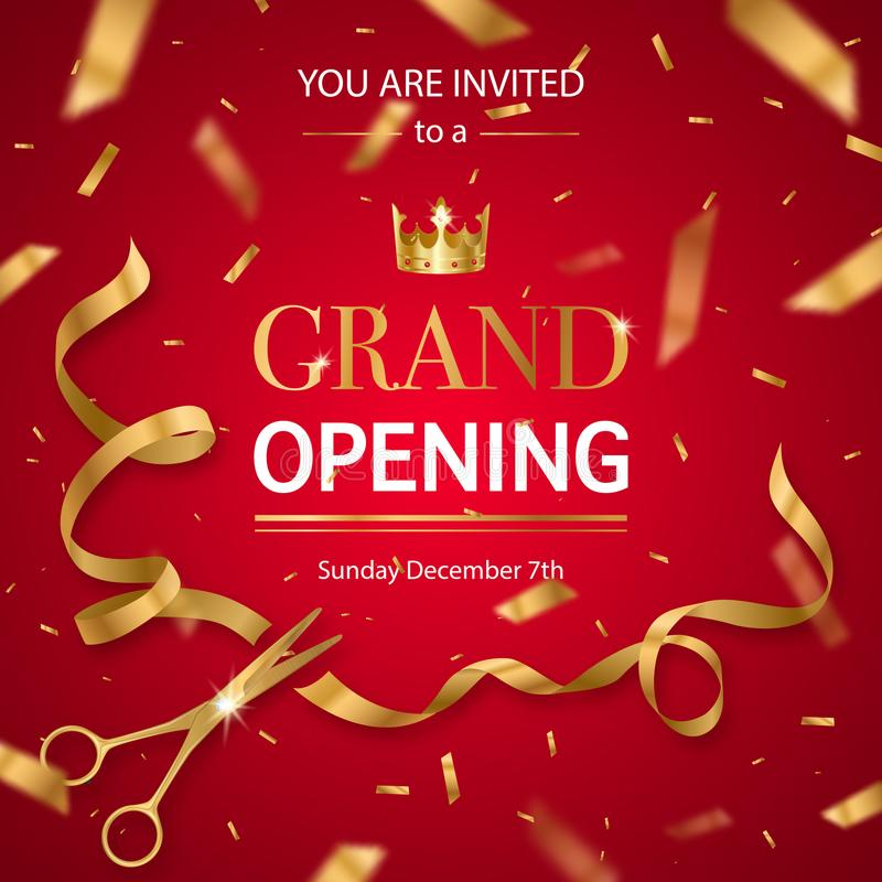 Realistic Grand Opening Invitation Pattern. Grand opening invitation card poster with realistic golden scissors cutting ribbon and crown red background vector royalty free illustration