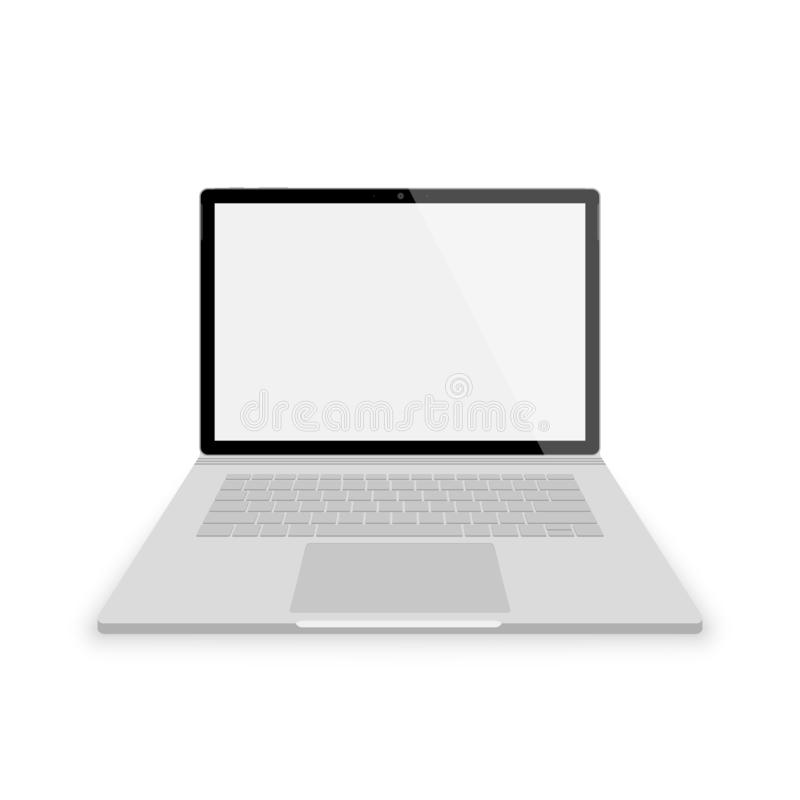 Realistic gray laptop front view. vector illustrations isolated on white background. laptop with empty scrin stock illustration
