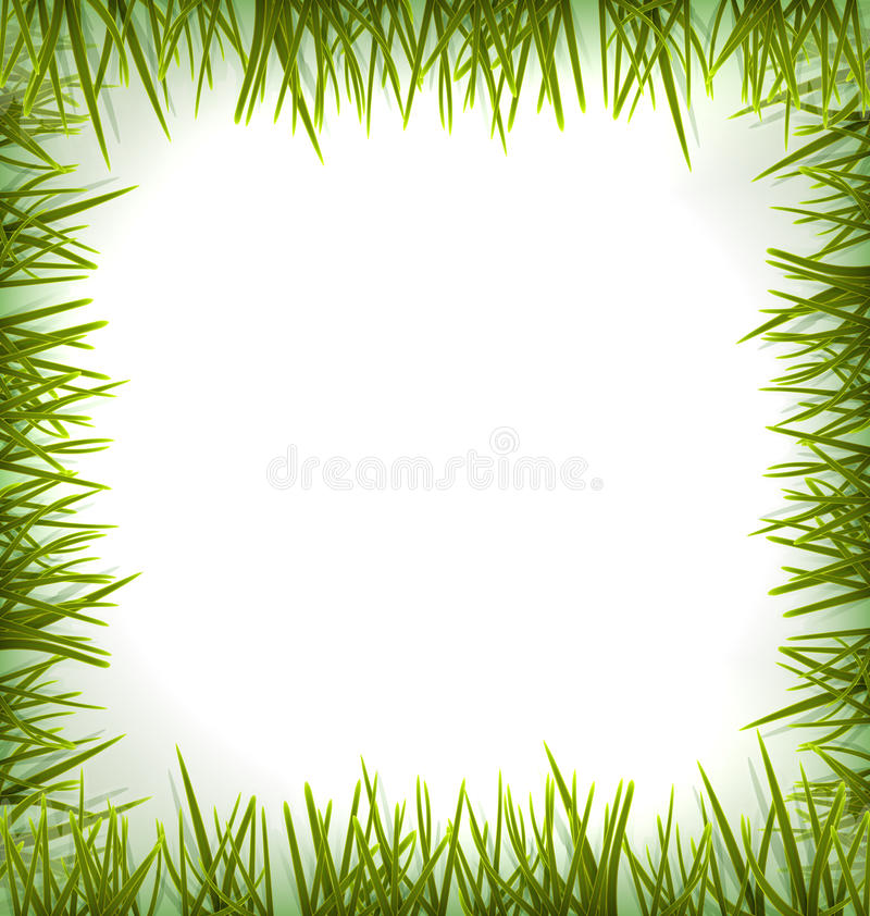Realistic green grass like frame isolated on white. Floral eco nature background - vector stock illustration