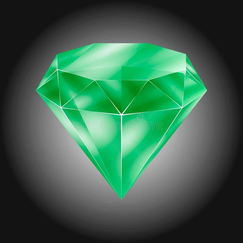 Realistic green round gem - emerald royalty free illustration