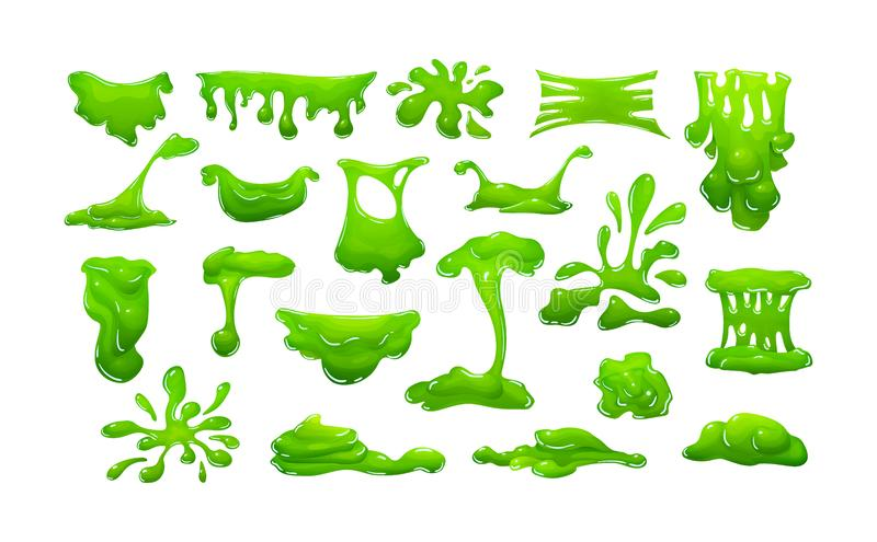 Realistic green slime in shape of dripping blob splashes smudges royalty free illustration