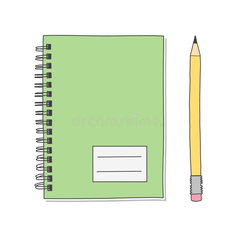 Writing tools. Spiral notebook and pencil. Realistic hand drawn illustration vector. vector illustration
