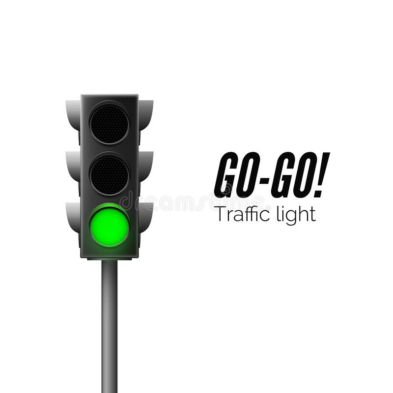 Realistic green traffic light. Traffic Laws. Go - business concept. Isolated vector illustration.  stock illustration