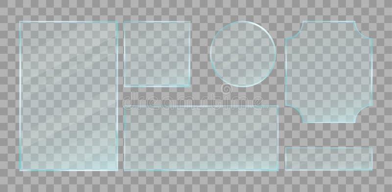 Realistic green transparent glass plates set. Vector design elements. vector illustration