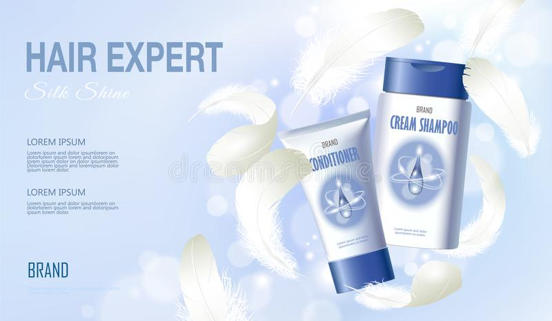 Realistic hair shampoo conditioner. Tube container cosmetic light background blue sunny sky spring white feather. 3d royalty free illustration
