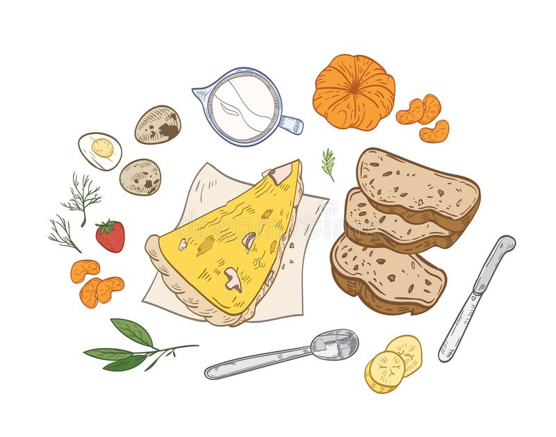 Realistic hand drawn composition with tasty breakfast meals or snacks and fresh organic morning food - pizza slice. Bread, eggs, fruits and berries. Vector vector illustration