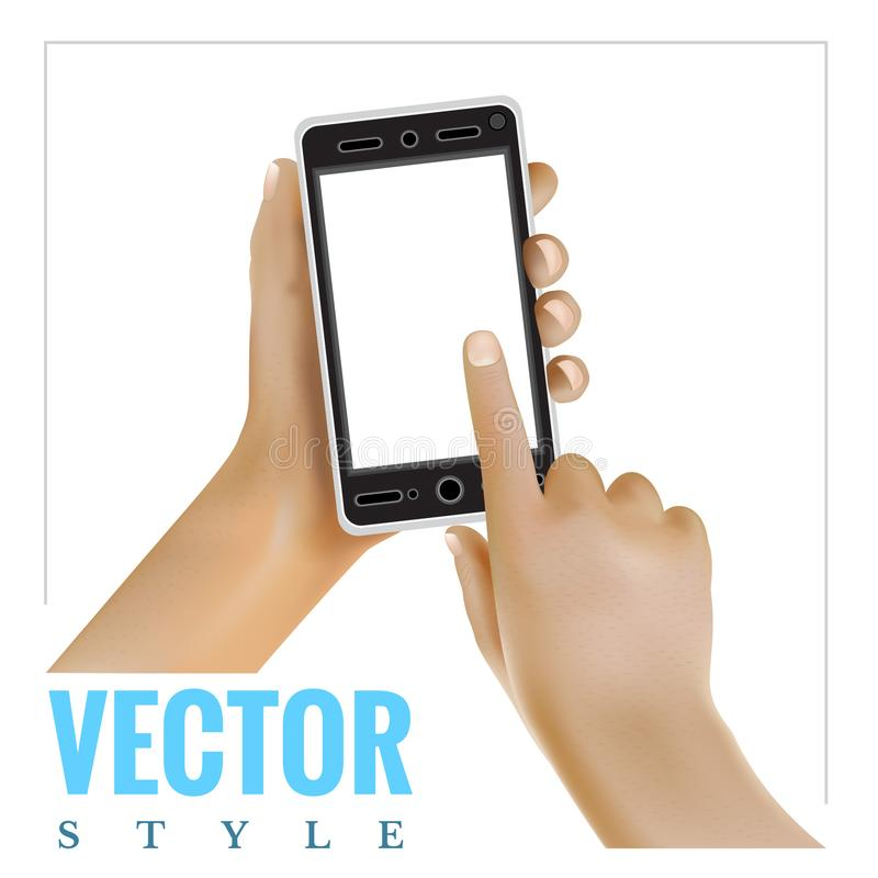 Realistic hand holding mobile phone and finger other touch on screen isolated. On white royalty free illustration