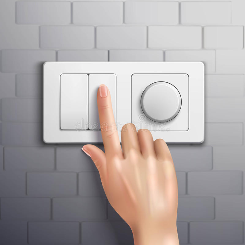 Realistic Hand Pressing Switch vector illustration