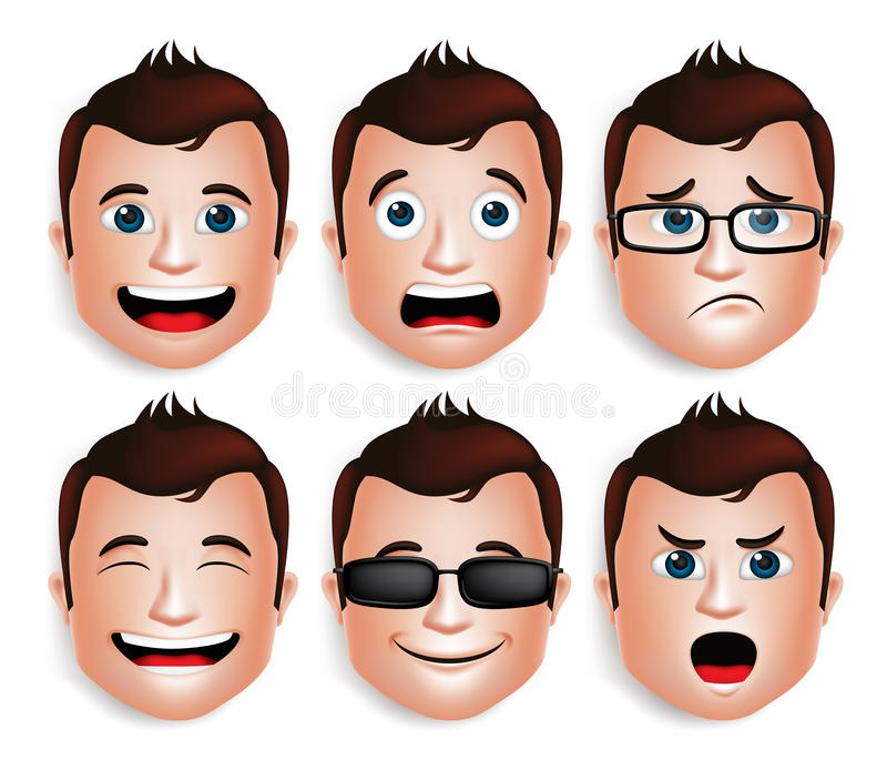 Realistic Handsome Man Head with Different Facial Expressions stock illustration