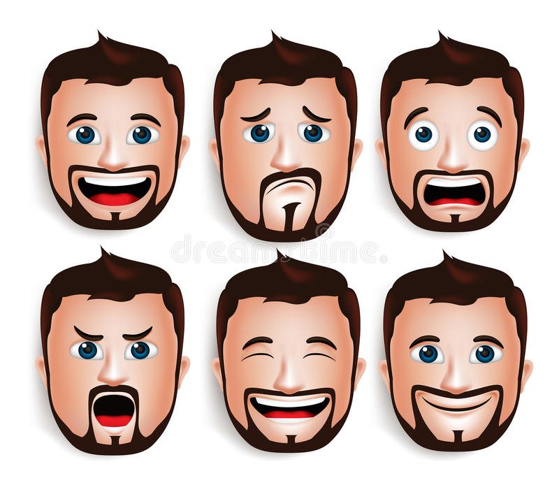 Realistic Handsome Man Head with Different Facial Expressions vector illustration