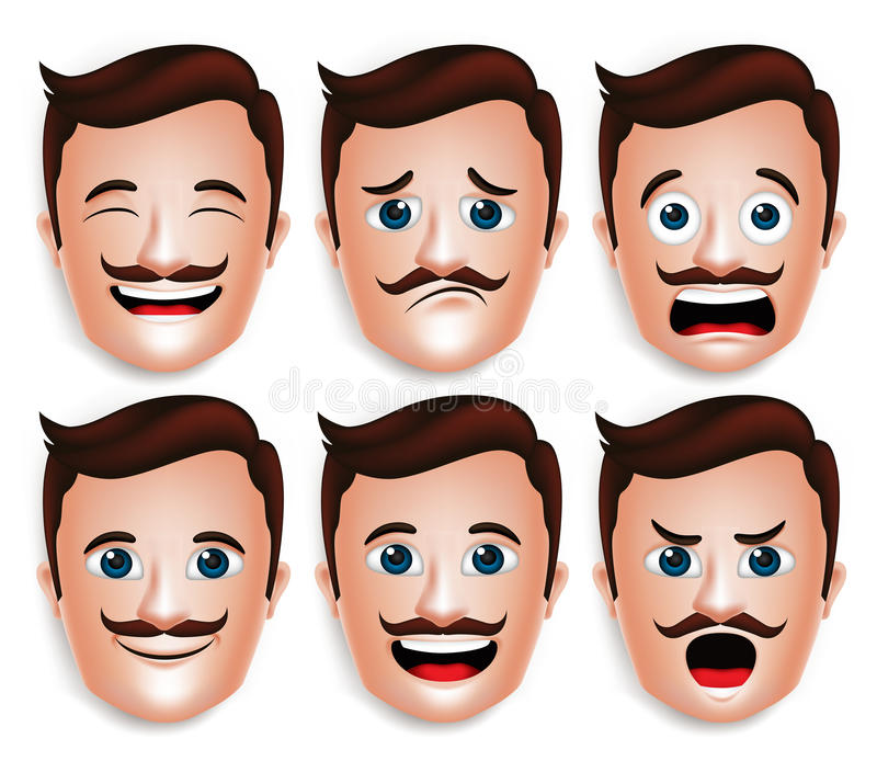 Realistic Handsome Man Head with Different Facial Expressions royalty free illustration