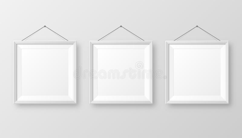 Realistic hanging on a wall blank white picture frame with shadow. Modern poster mockup isolated on gray background. Empty photo frame for art gallery or royalty free illustration