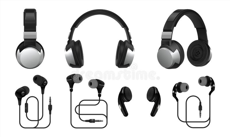 Realistic headphones. 3D wireless earphones and headset for listening music and gaming. Vector types of earbuds isolated royalty free illustration