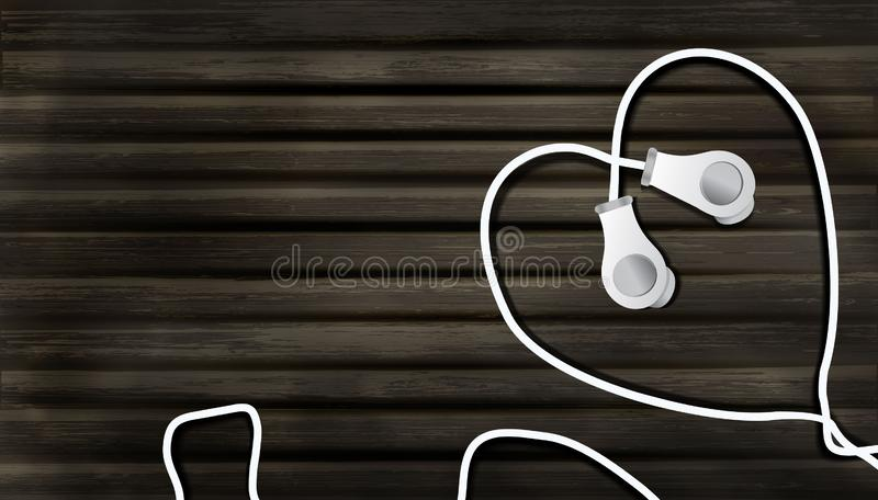 Realistic headphones on a wooden background in the form of a heart. object to listen to music in the style of realism, 3D music vector illustration