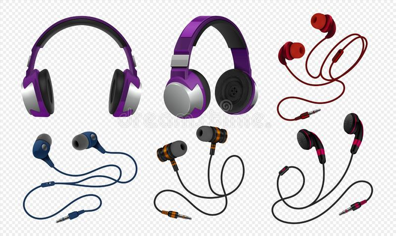 Realistic headset. Wireless gaming earphones with mic and and corded studio monitor headphones for music. Vector royalty free illustration