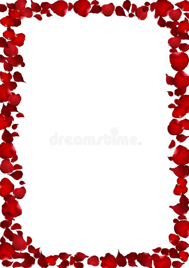 Realistic heart shape red rose petal frame, flower vector illus royalty free illustration
