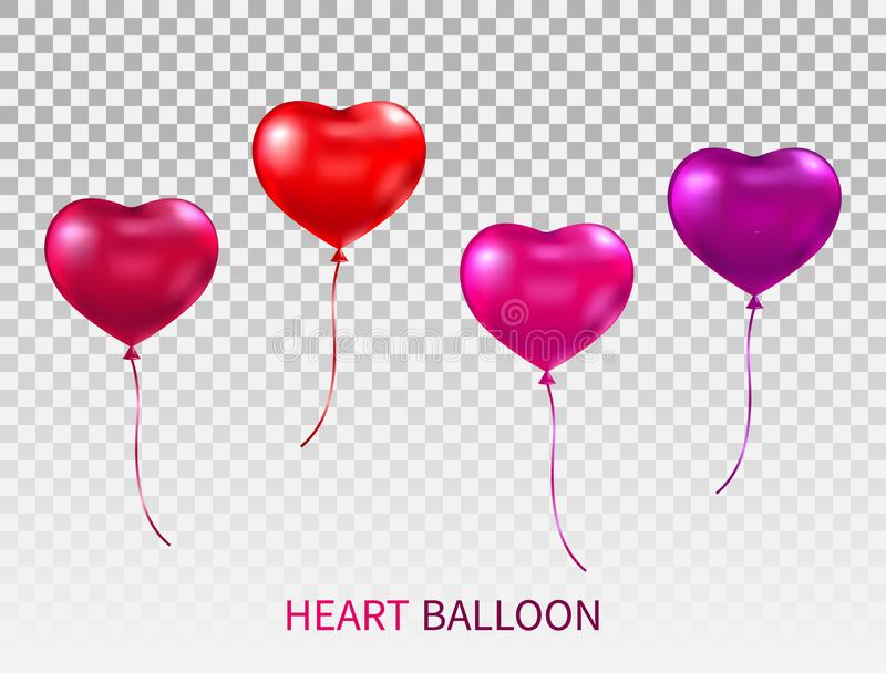 Realistic heart shaped balloons set isolated on transparent background. Red, pink and purple glossy balloon with ribbons vector illustration
