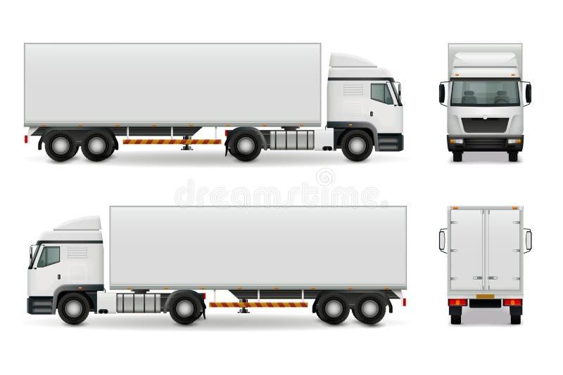 Realistic Heavy Truck Advertising Mockup stock illustration