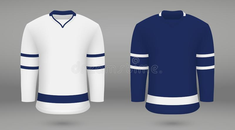 Shirt template forice hockey jersey. Realistic hockey kit, shirt template for ice hockey jersey. Toronto Maple Leafs stock illustration