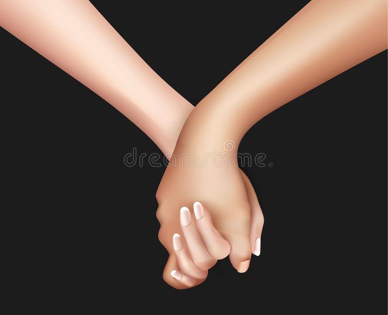 Realistic holding hands vector illustration. vector illustration