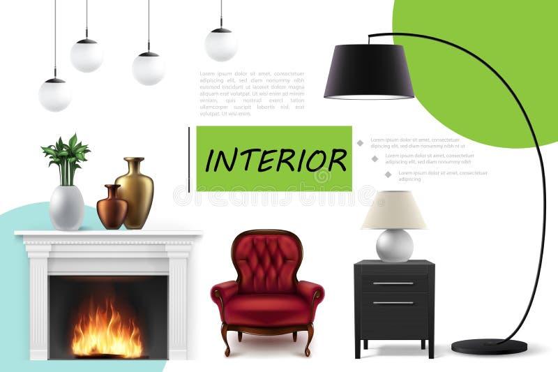 Realistic Home Interior Concept vector illustration