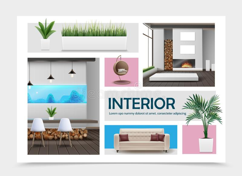 Realistic Home Interior Elements Collection royalty free illustration
