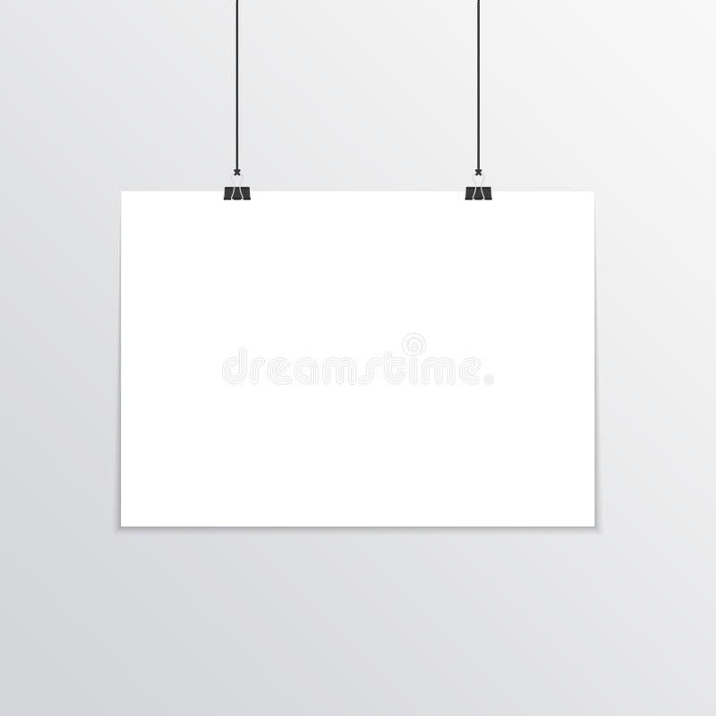 Realistic horizontal poster mockup A4. vector illustration