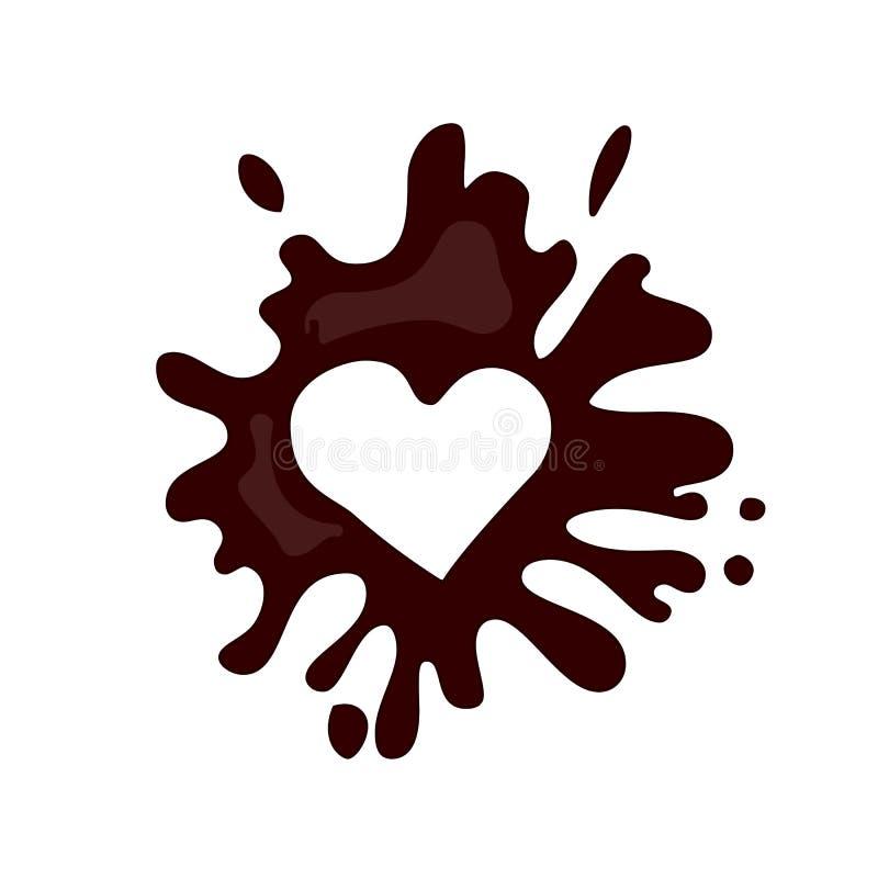 Realistic hot chocolate heart splash royalty free illustration
