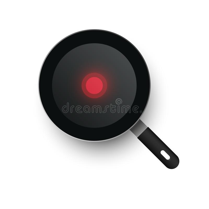 A realistic hot vector frying pan heated up. View from above. Red thermo spot.  vector illustration