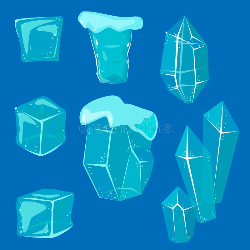 Realistic ice caps snowdrifts and icicles broken piece bit lump cold frozen block crystal winter decor vector. Illustration. Ice cube 3d snowy cartoon style stock illustration